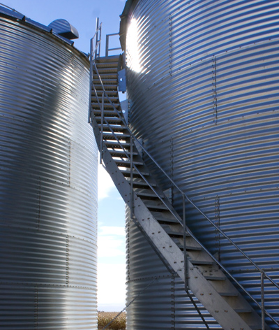 Image of spiral stairs for a grain bin